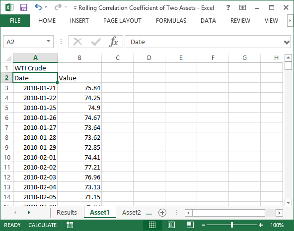 Historical prices for WTI crude oil and S&P 500 in Excel