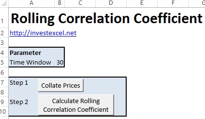Spreadsheet that calculates the correlation coefficient of two stocks