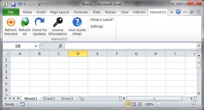 MarketXLS addin tab v2
