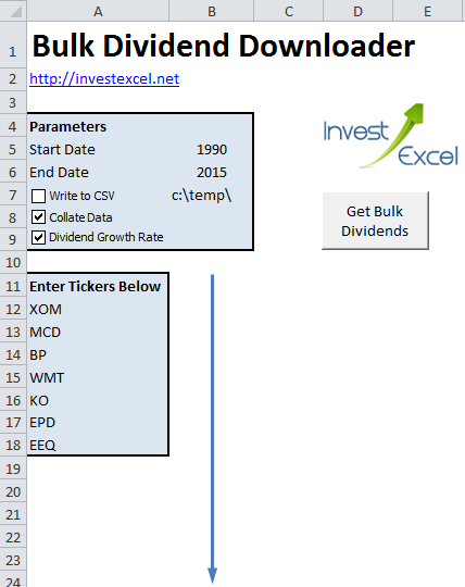 A spreadsheet that downloads historical dividend data and calculates dividend growth rates