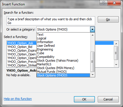 The Insert Function window gives all the functions in MarketXLS