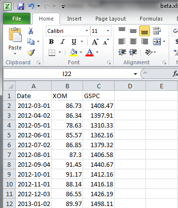 Monthly close prices for XOM and ^GSPC in a spreadsheet