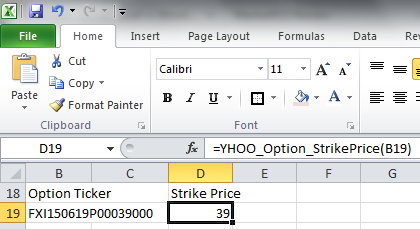 Downloading option prices from Yahoo Finance into Excel