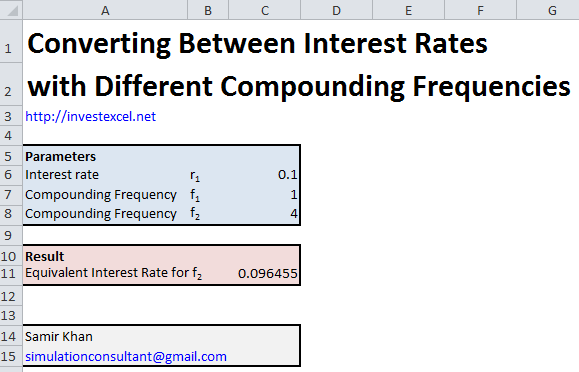 Excel spreadsheet to convert between interest rates with different compounding frequencies