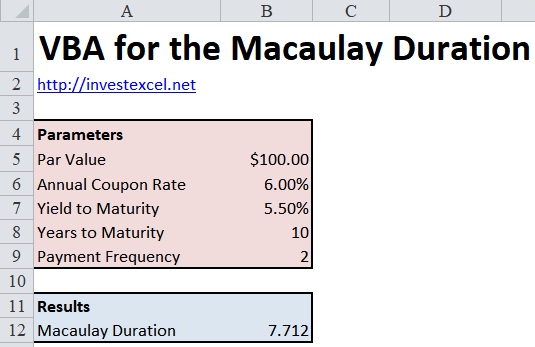 An Excel Spreadsheet that uses VBA to Calculate the Macaulay Duration